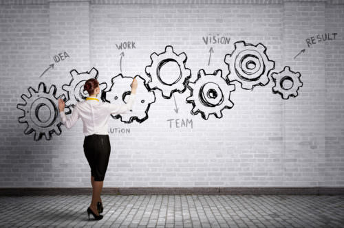 Businesswoman standing with back and drawing gear mechanism on wall