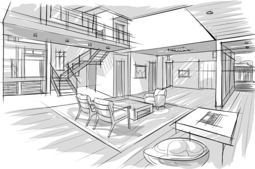 sketch of interior
